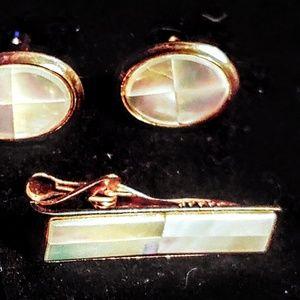 Other - Vintage 1950'sabalone cufflinks and tie bar set